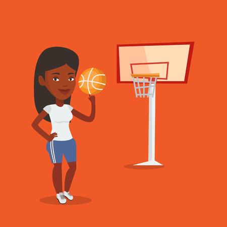 Young basketball player spinning ball.