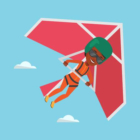 Woman flying on hang-glider vector illustration. Illustration