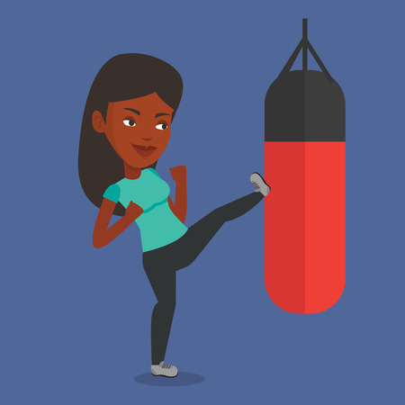 Woman exercising with punching bag. 矢量图像