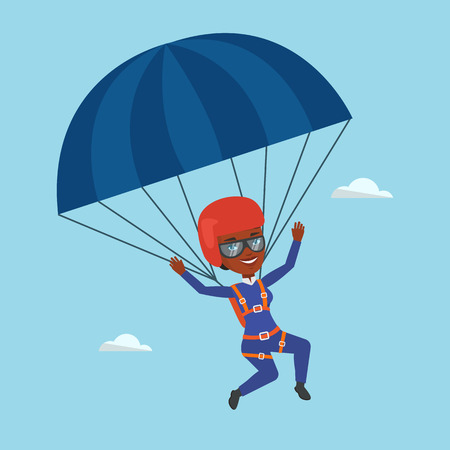 Young happy woman flying with parachute.