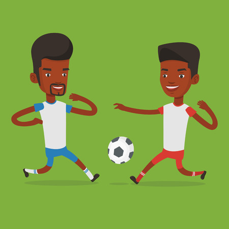 Two soccer players fighting for ball. Ilustracja