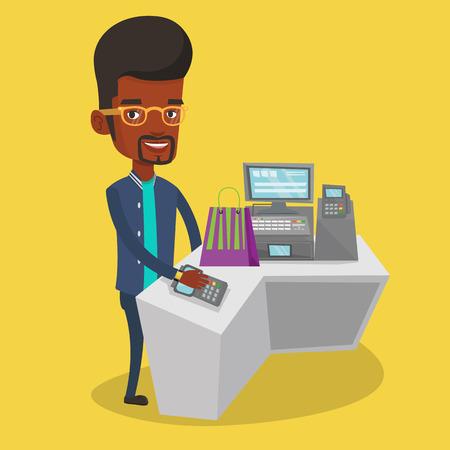 smart man: Man paying wireless with smart watch. Illustration