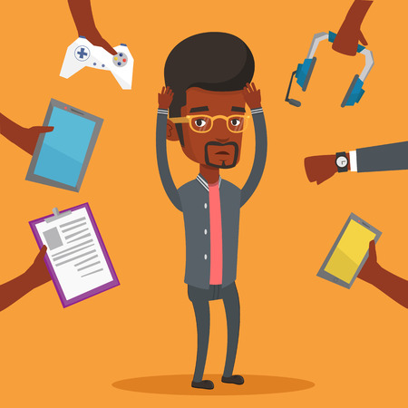 Young man surrounded with his gadgets. Illustration