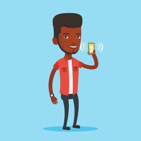 Man holding ringing mobile phone. Illustration