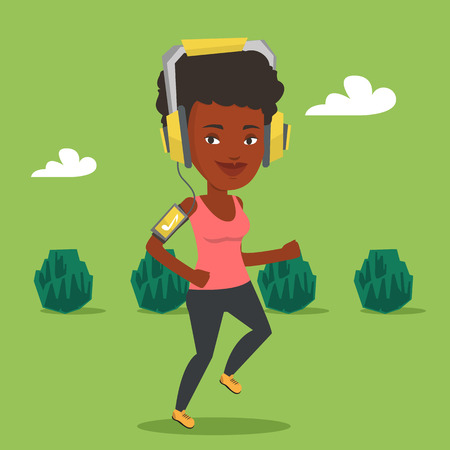jogging park: Woman running with earphones and smartphone. Illustration
