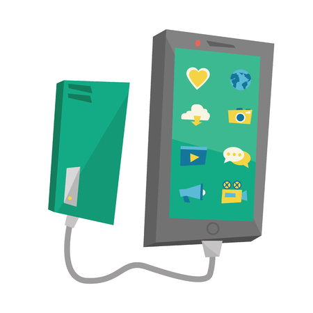 Recharging-smartphone van draagbare batterij. Stockfoto - 70387628