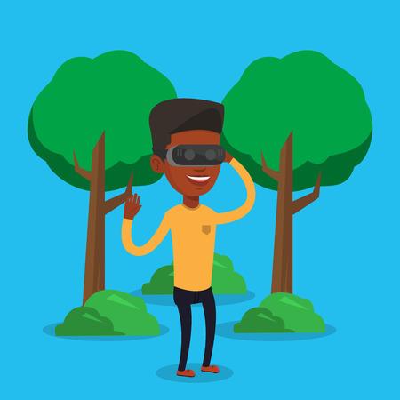 Hombre con casco de realidad virtual en el parque.