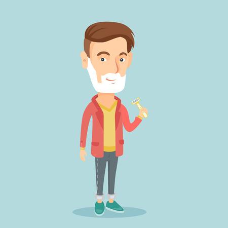 Man shaving his face vector illustration. Illustration