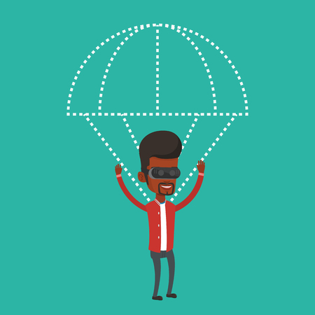 Happy man in vr headset flying with parachute. Illustration