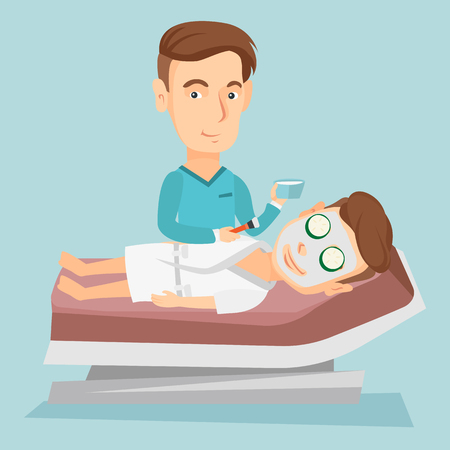 Man in schoonheidssalon tijdens cosmetische procedure Stock Illustratie