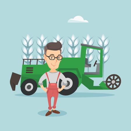 Farmer standing with combine on background. Ilustração Vetorial