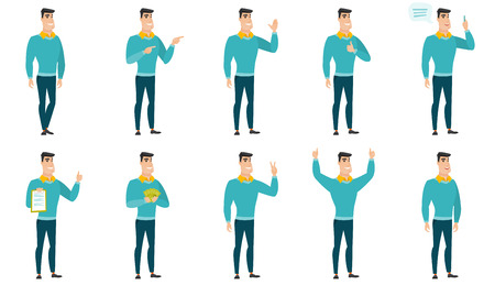 Vector set of illustrations with business people. Vectores