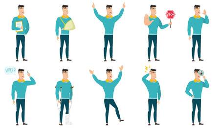 businessman jumping: Vector set of illustrations with business people. Illustration
