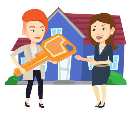 Agent immobilier donnant la clé de nouveau propriétaire de la maison.