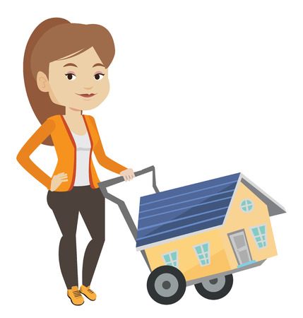 house for sale: Young woman buying house vector illustration.