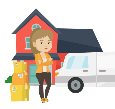 unpacking: Woman moving to house vector illustration.