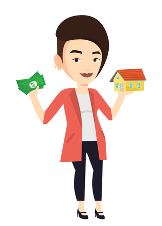 Woman buying house thanks to loan.
