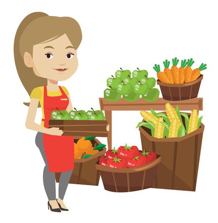 Trabajador de supermercado con caja llena de manzanas. Vectores