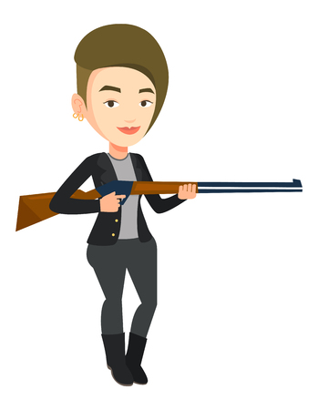 fusil de chasse: Hunter ready to hunt with hunting rifle.