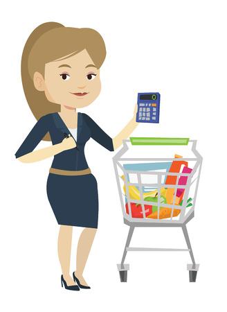 Female customer counting on calculator. Illustration