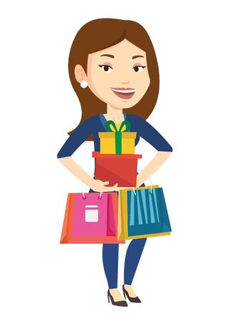 Gelukkige vrouw met boodschappentassen en geschenkverpakkingen.