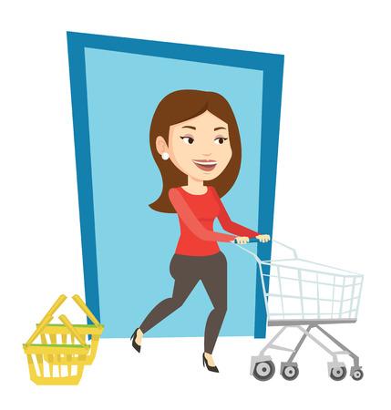 mujer en el supermercado: Customer running into the shop with trolley. Vectores