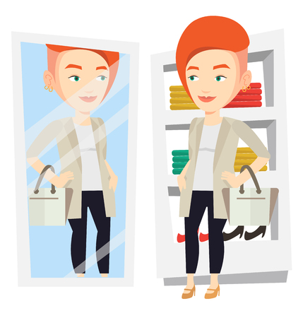 trying: Woman trying on clothes in dressing room. Illustration