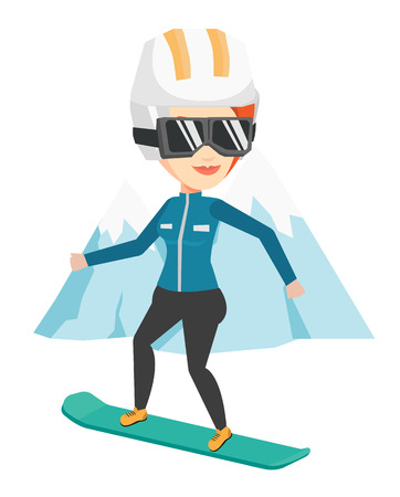 Young woman snowboarding vector illustration.