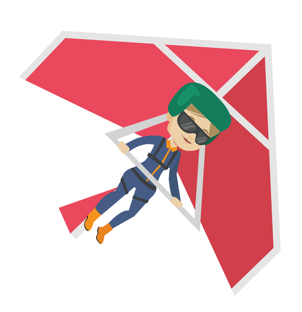Woman flying on hang-glider vector illustration.