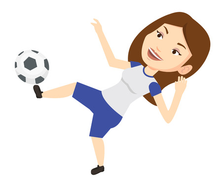 Soccer player kicking ball vector illustration.
