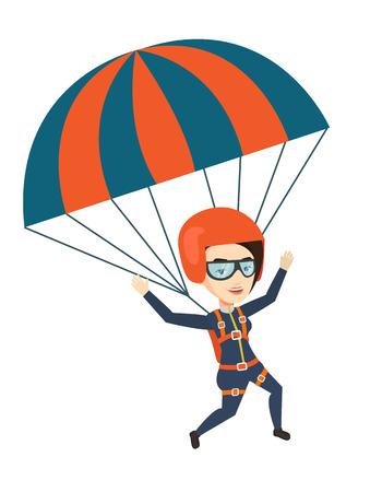 Jonge gelukkige vrouw vliegen met parachute.
