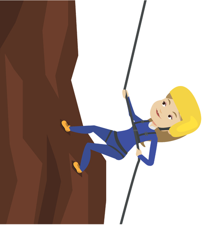 Woman climbing in mountains with rope. Ilustração