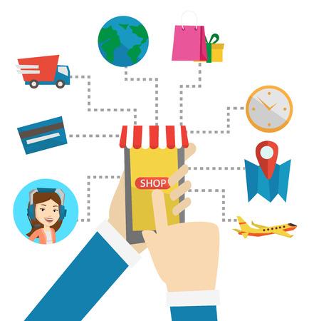 Compras en línea vector ilustración de diseño plano. Ilustración de vector