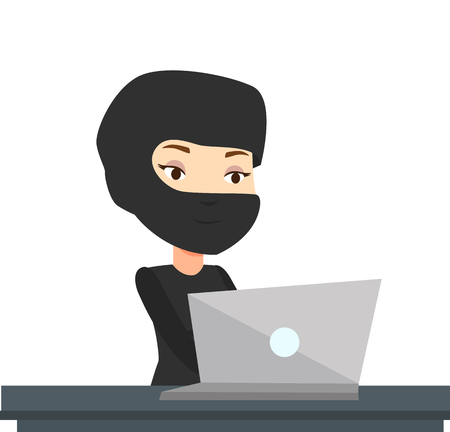 Hacker using laptop to steal information.