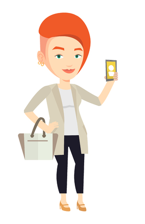 Woman holding ringing mobile phone.
