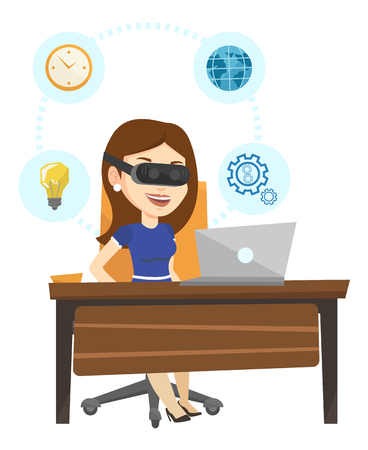 headset business: Business woman in vr headset working on computer. Illustration