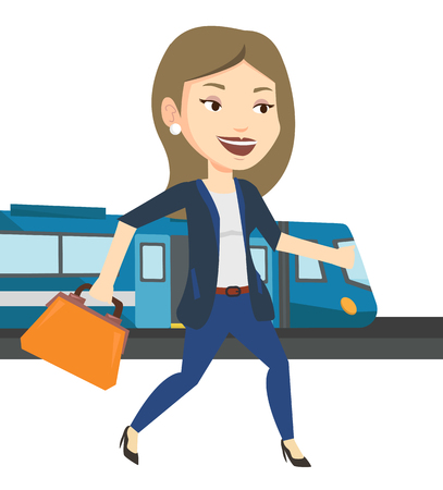 Businesswoman at train station vector illustration Illustration
