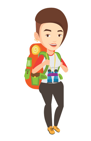 Cheerful traveler with backpack.