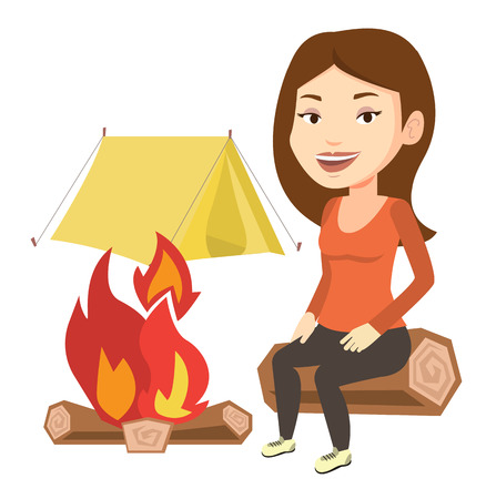 Young caucasian woman sitting near campfire at campsite. Travelling woman sitting on a log near campfire. Woman relaxing near campfire. Vector flat design illustration isolated on white background.