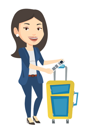 Caucasian business woman showing luggage tag. Illustration