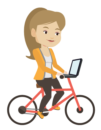 Woman riding bicycle in the city. Illustration