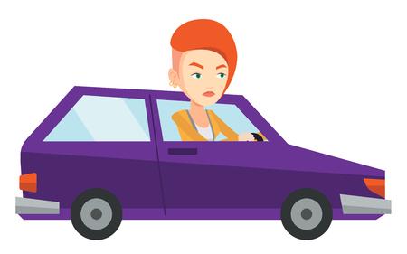 Angry caucasian woman in car stuck in traffic jam.