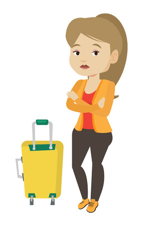 terrified woman: Young woman suffering from fear of flying. Illustration