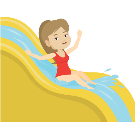 Woman riding down waterslide vector illustration. Stock Photo