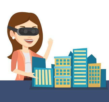 Happy young woman wearing virtual reality headset. Stock Photo