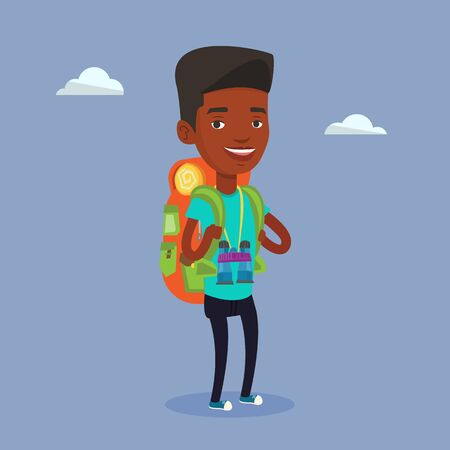 traveler: Hiking african-american traveler standing with backpack and binoculars. Traveler man enjoying recreation time in nature. Traveler during summer trip. Vector flat design illustration. Square layout.