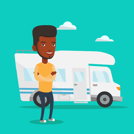 Young african-american man enjoying her vacation in motor home. Happy man standing with arms crossed in front of motor home. Man traveling by motor home. Vector flat design illustration. Square layout Illustration