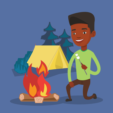 roasting: African-american man sitting near campfire. Man roasting marshmallow over campfire. Tourist relaxing near campfire on the background of camping site. Vector flat design illustration. Square layout.