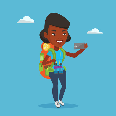African-american tourist making selfie. Tourist with backpack and binoculars taking selfie with cellphone. Tourist taking selfie during summer trip. Vector flat design illustration. Square layout. Illustration