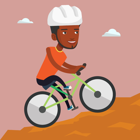 Extreme african-american man riding on mountain bike. Young confident male tourist in helmet traveling in the mountains on a mountain bicycle. Vector flat design illustration. Square layout.